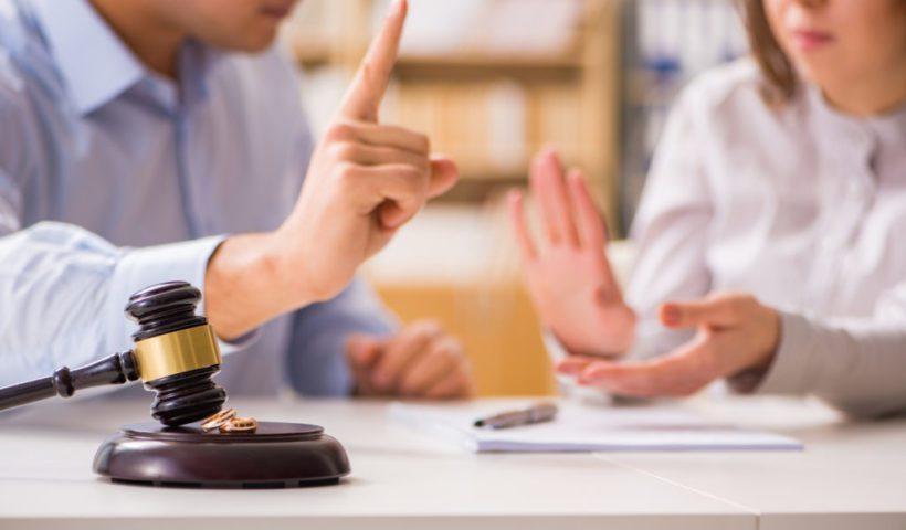 Judge gavel deciding on marriage divorce