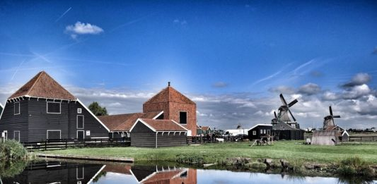 Farm machinery sheds.